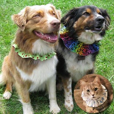 Handmade Reversible Dog Bandanas & Ruffle Collars