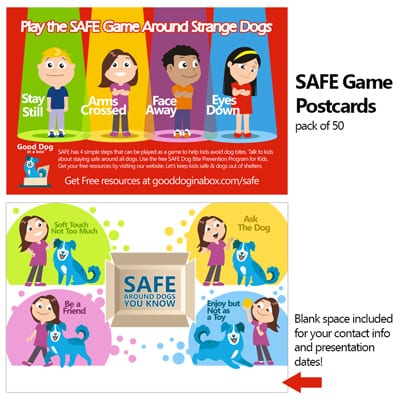 New SAFE Dog Bite Prevention Game Postcard Pack of 50